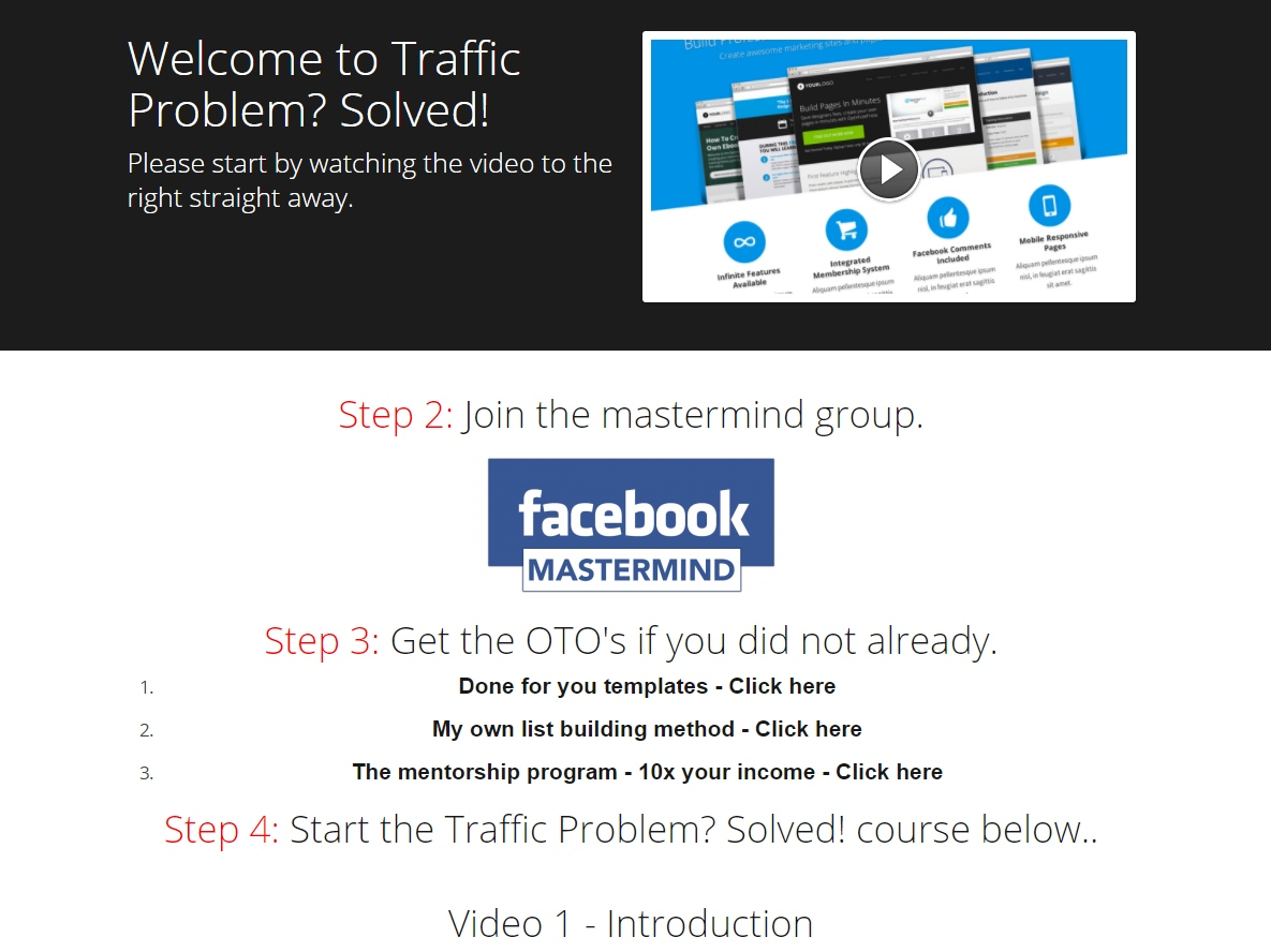 Traffic Problem? Solved! Review Members Area