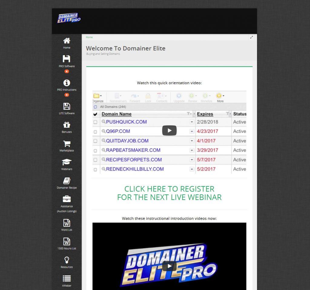 Domainer Elite PRO Review Members Area