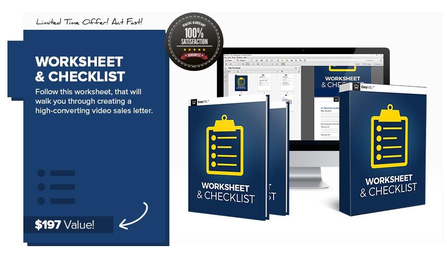 Video Sales Letter Worksheet & Checklist