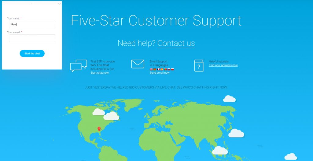 GetResponse Customer Support Page