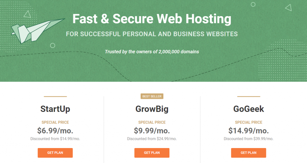 SiteGround Standard Shared Hosting Plans