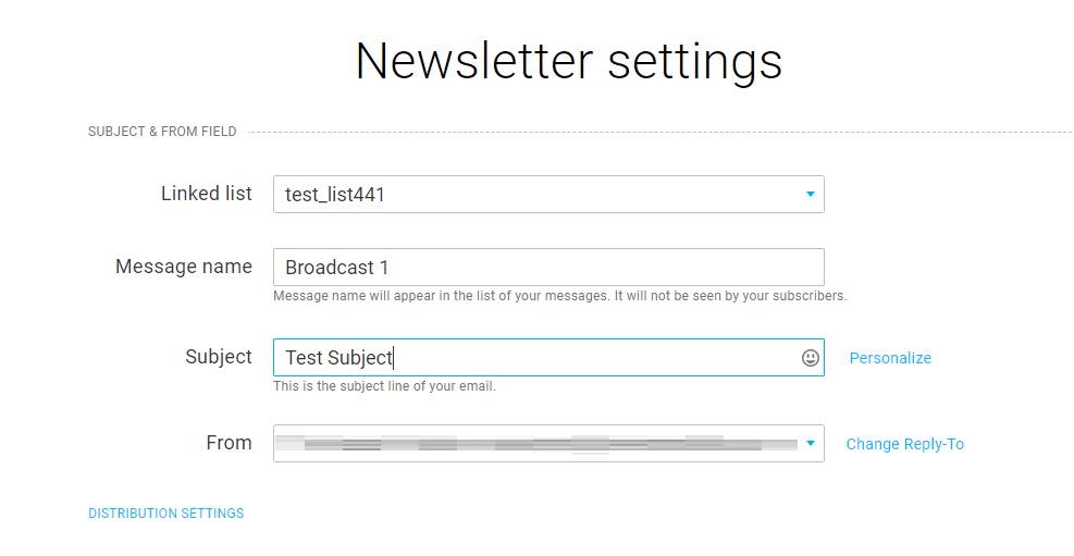 GetResponse Newsletter Settings