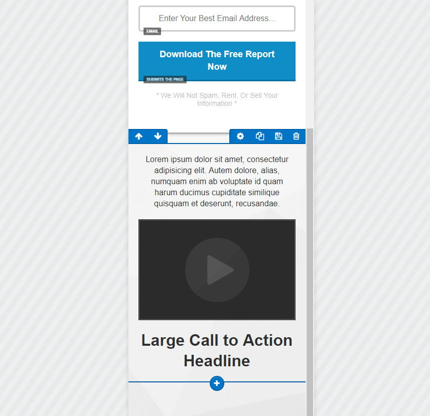 ClickFunnels Editor Mobile View