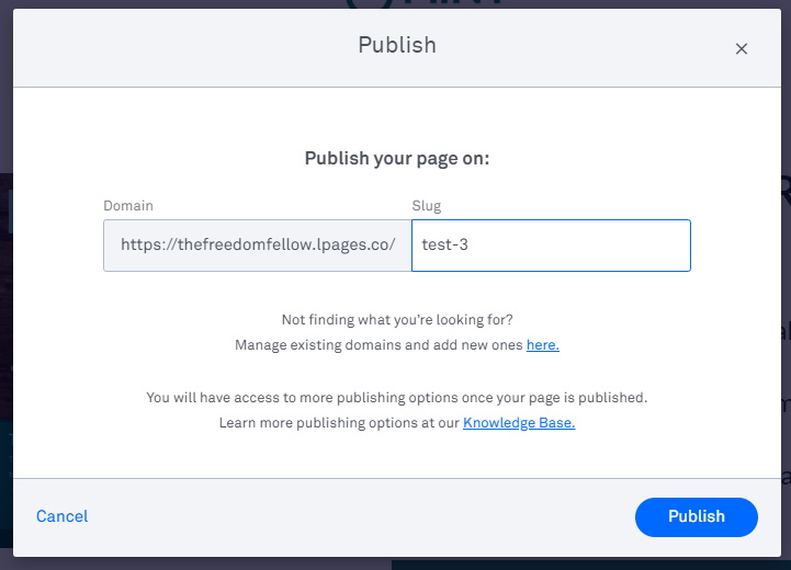 Leadpages - Publish Page Screen