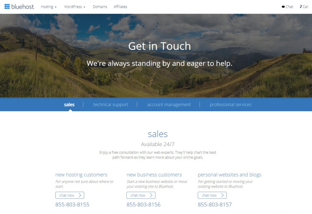 Bluehost Customer Support Page