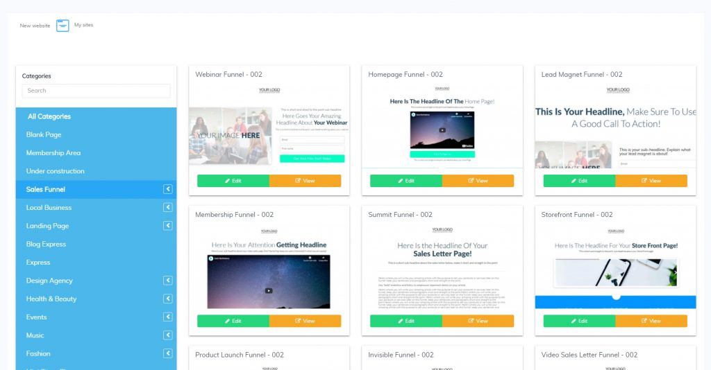 Builderall Template Selection - Sales Funnels