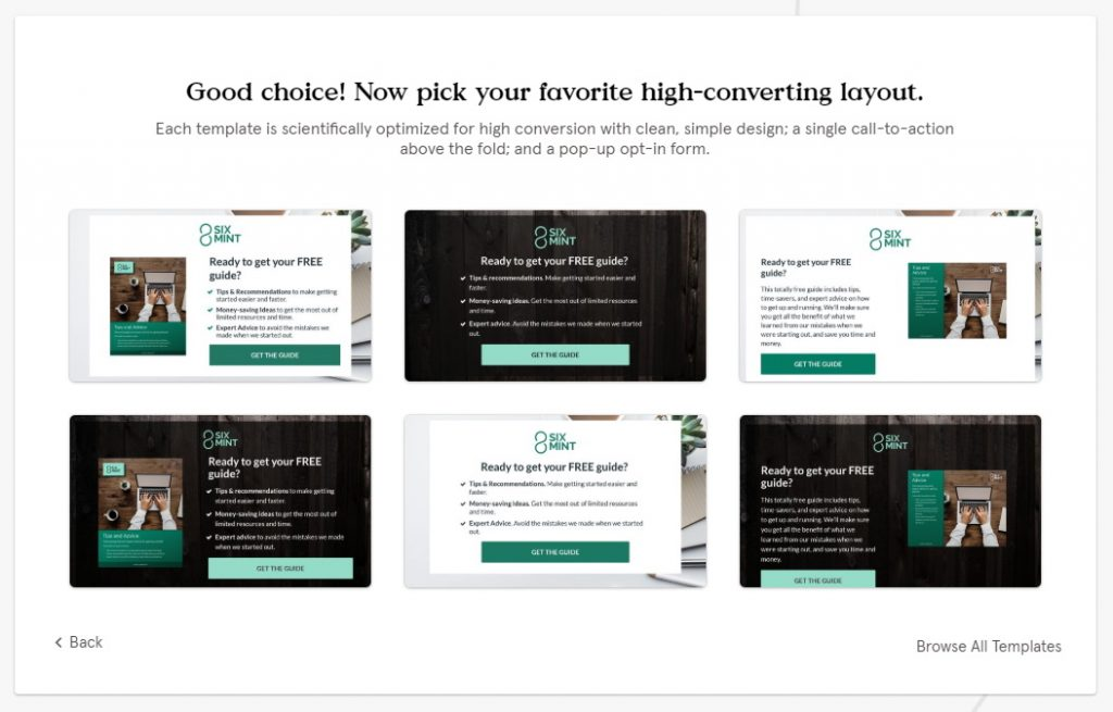 Leadpages - Choose Template Window