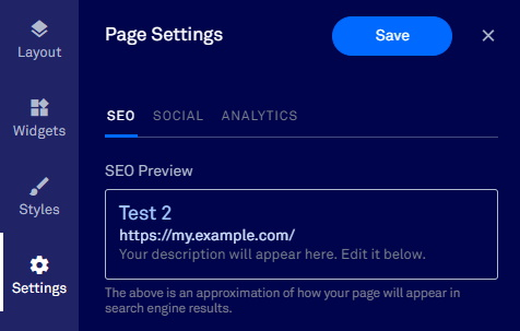 Leadpages Editor - SEO Settings