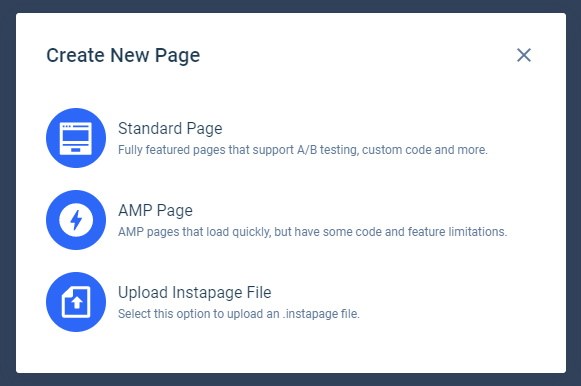 Instapage New Page Options