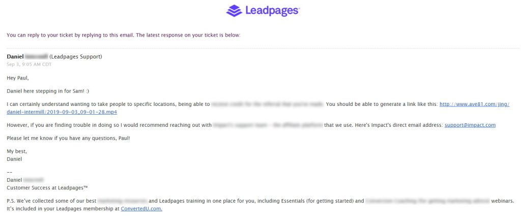 Leadpages Support Email With Video Clip