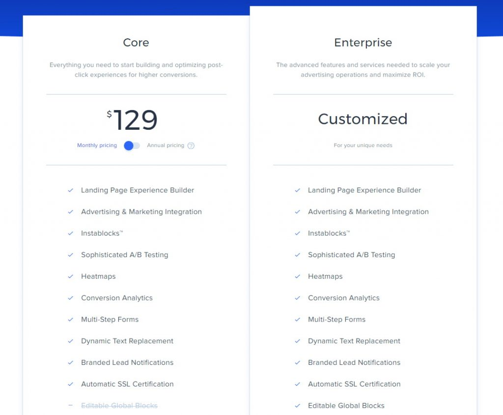 Instapage Pricing Plans