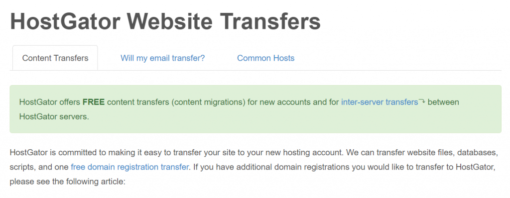 HostGator Site Transfers