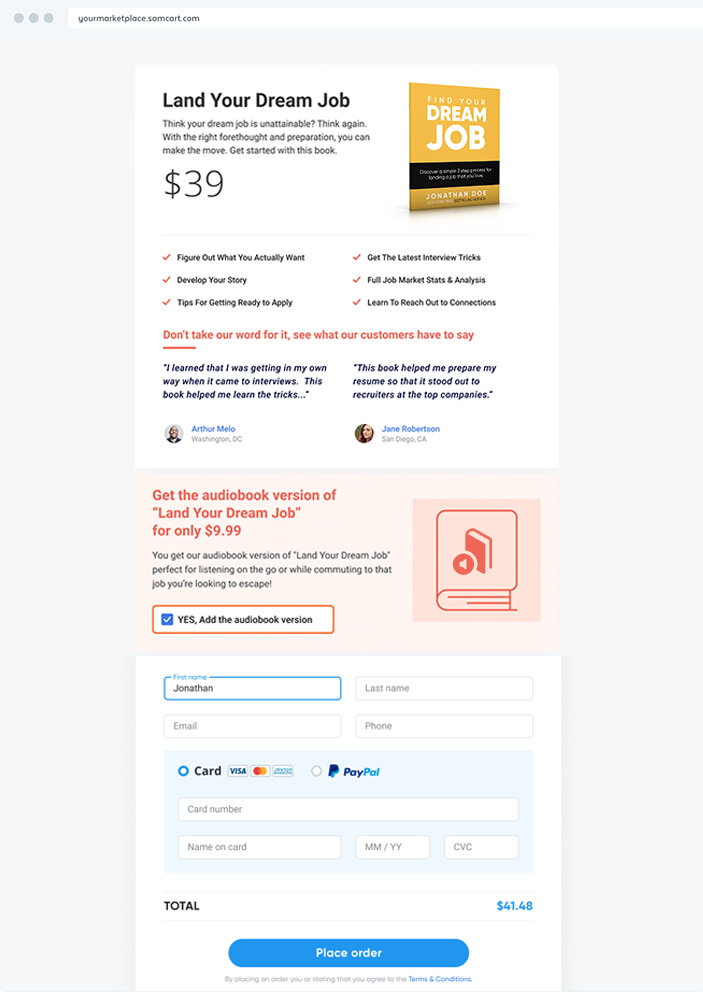 SamCart Checkout Page Sample