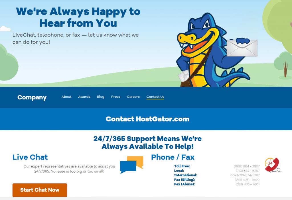 HostGator Customer Support Page