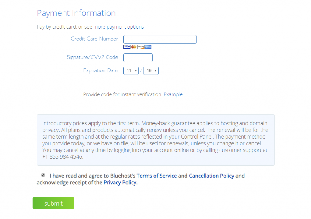 Bluehost Review Purchase Screen