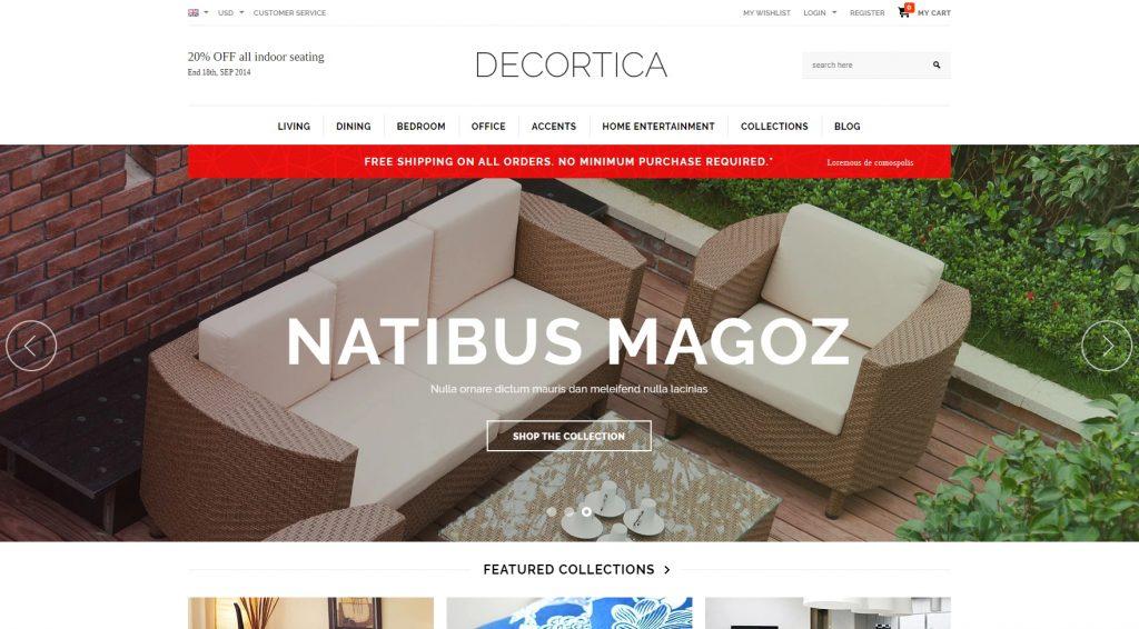 Shopify DECORTICA Theme Sample