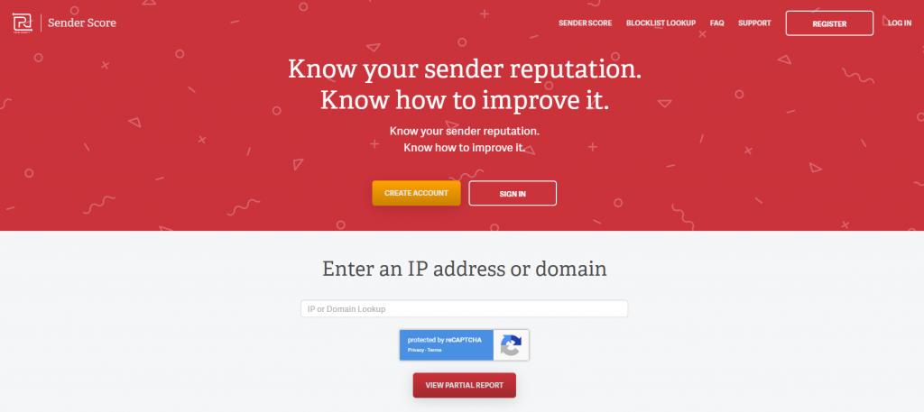 Sender Score IP Lookup Screen