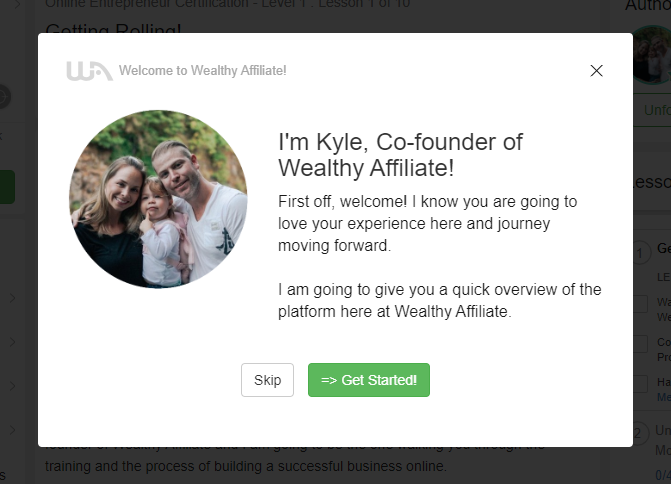 Wealthy Affiliate Welcome Popup