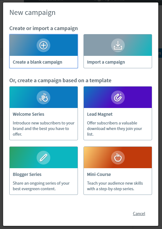 AWeber New Campaign Options
