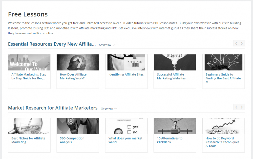 Affilorama Free Lessons Interface