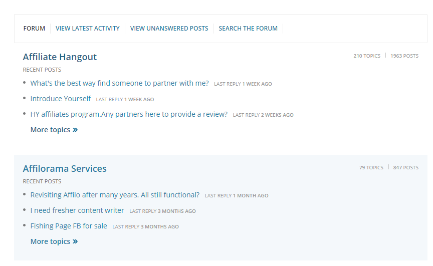 Affilorama Forum Interface