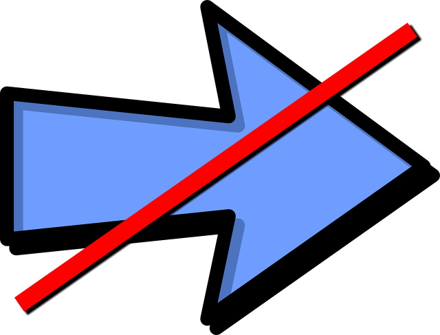 Arrow pointing forward, crossed out
