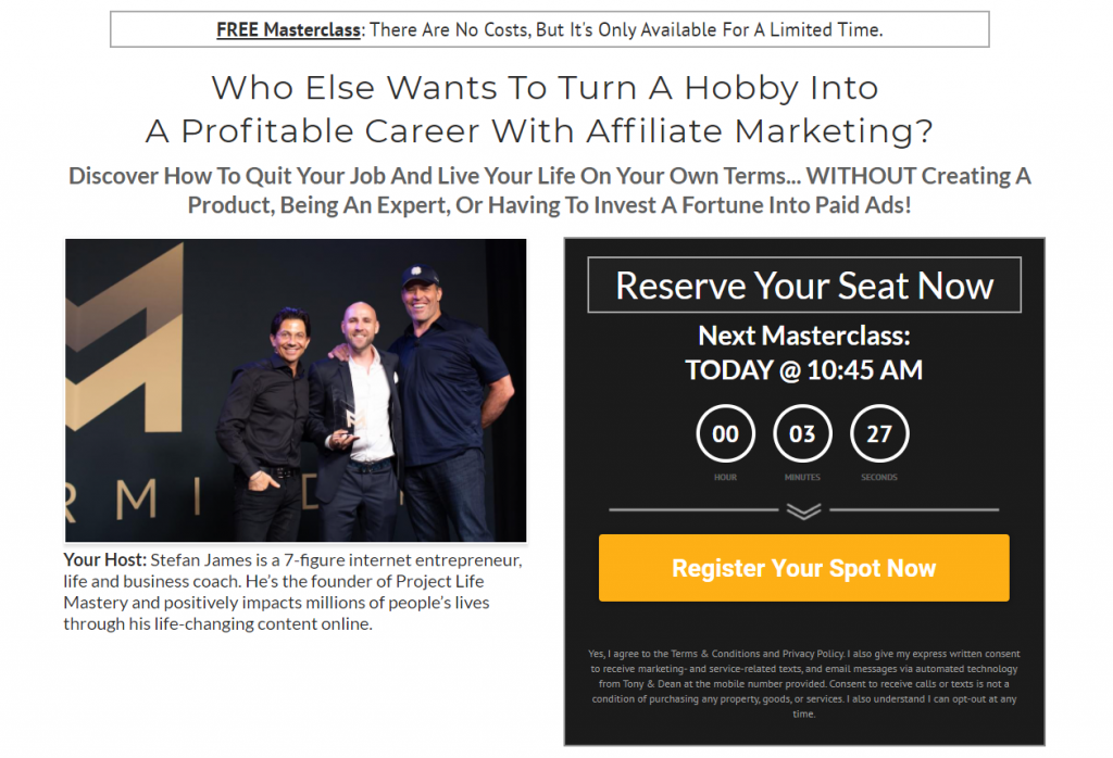 Affiliate Marketing Mastery MasterClass Signup