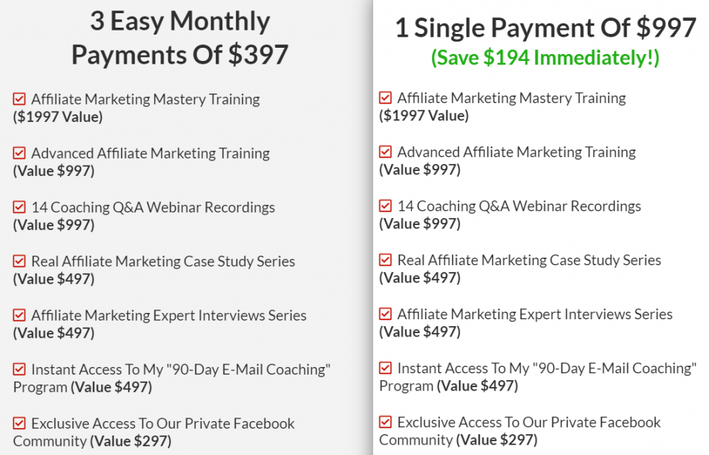 Affiliate Marketing Mastery Pricing