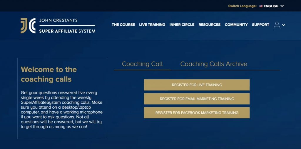Super Affiliate System Live Trainings Section