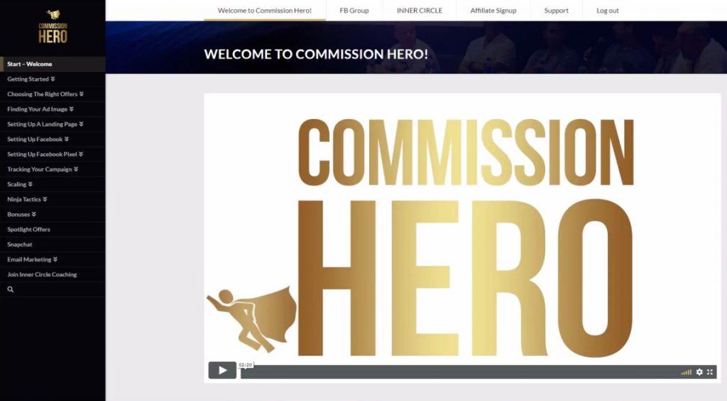 Commission Hero Members Area Start