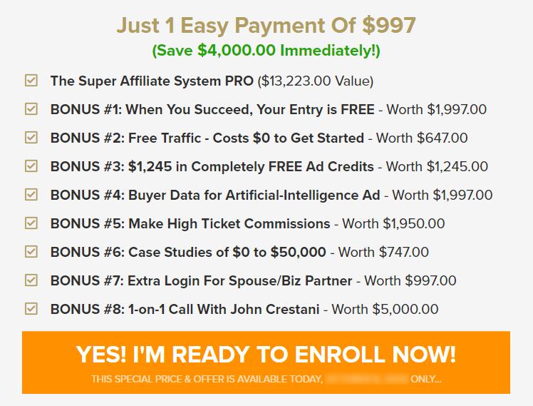 Super Affiliate System Pricing