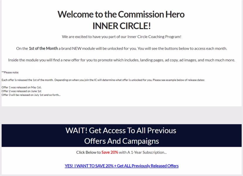 Commission Hero Members Area Inner Circle Section