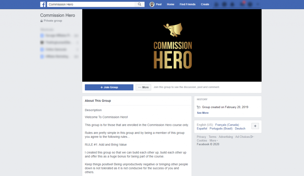 Commission Hero Private Facebook Group