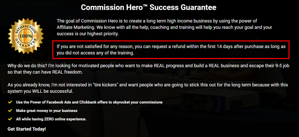 Commission Hero Refund Policy Highlight 1