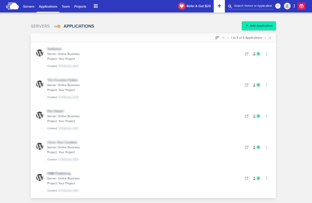 Cloudways Applications Tab